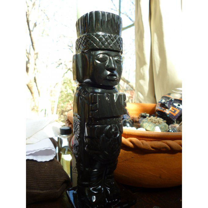 Giant of Tula, rainbow obsidian sculpture, fine volcanic stone, Mexican Art/