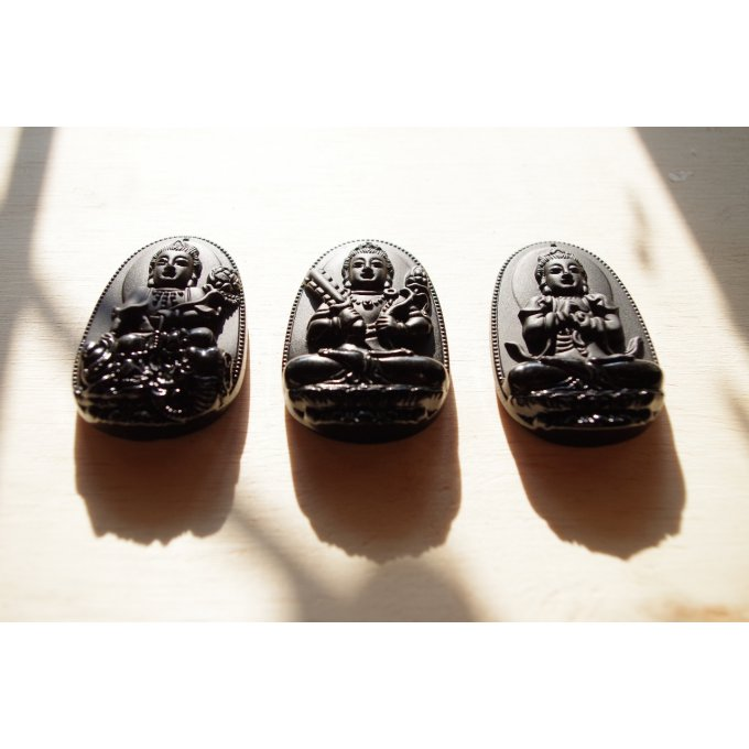 Collection 3bouddhas pendentifs obsidienne Mexique 6cm