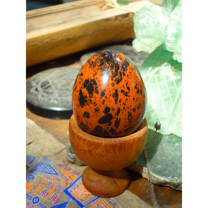 oeuf Yoni obsidienne rouge MexicoAcajou orange noire Mexique 4cm
