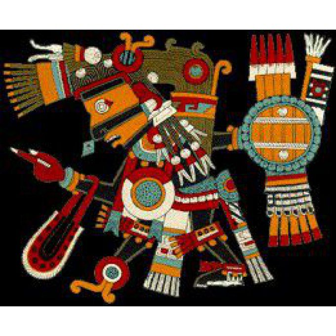 Tezcatlipoca divinité Aztec art Nahuatl amérindien tradition décoration mexiqu sculpture murale bois
